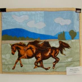 лоскутное панно - лошади
